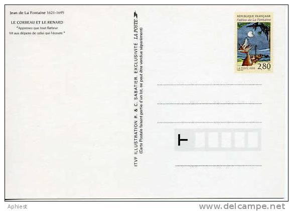 Entier Postal Jean De La Fontaine - Le Corbeau Et Le Renard- 2961-CP1 - Entiers Postaux