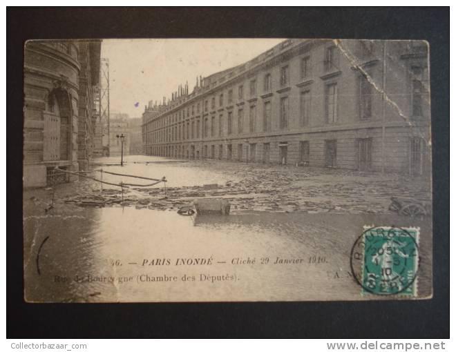 Vintage CA 1900 Postcard AK France Inonde Cliche 29 Janvier 1910 Rue Du Bourgogne Chambre Des Deputes - Inundaciones