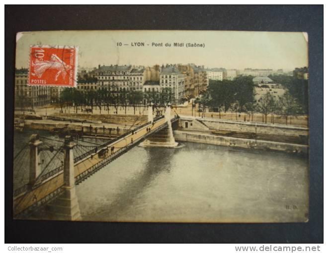 Vintage CA 1900 Postcard AK France Lyon Pont Du Midi Saone - Puentes