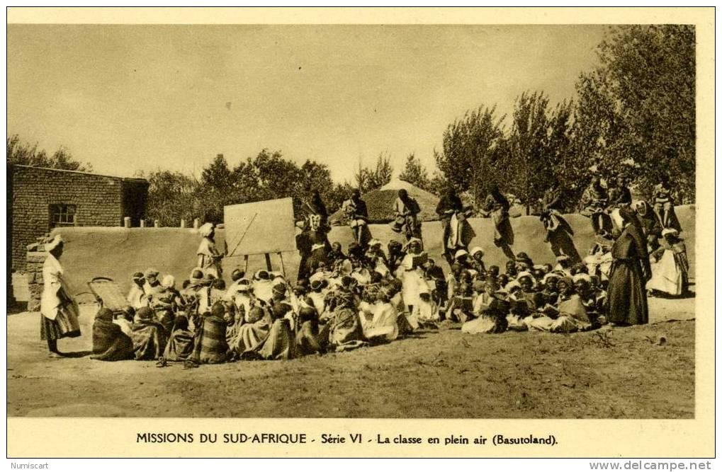 CPA...MISSIONS DU SUD AFRIQUE...ANCIENNEMENT BASUTOLAND...LA CLASSE EN PLEIN AIR...ANIMEE... - Lesotho