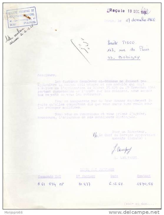 Lettre Dactylographiée De La Société De Télécommunications De Paris XIII ème Et De 1968 - Vieux Papiers