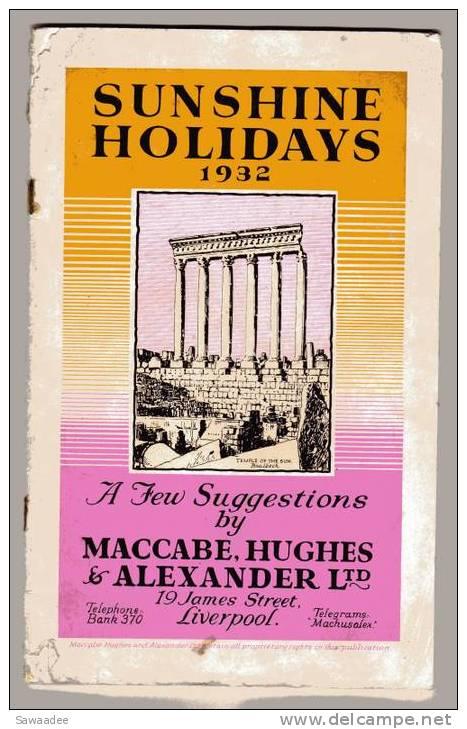 CATALOGUE - SUNSHINE HOLIDAYS - 1932 - COMPAGNIE TRANSPORT MARITIME - Monde