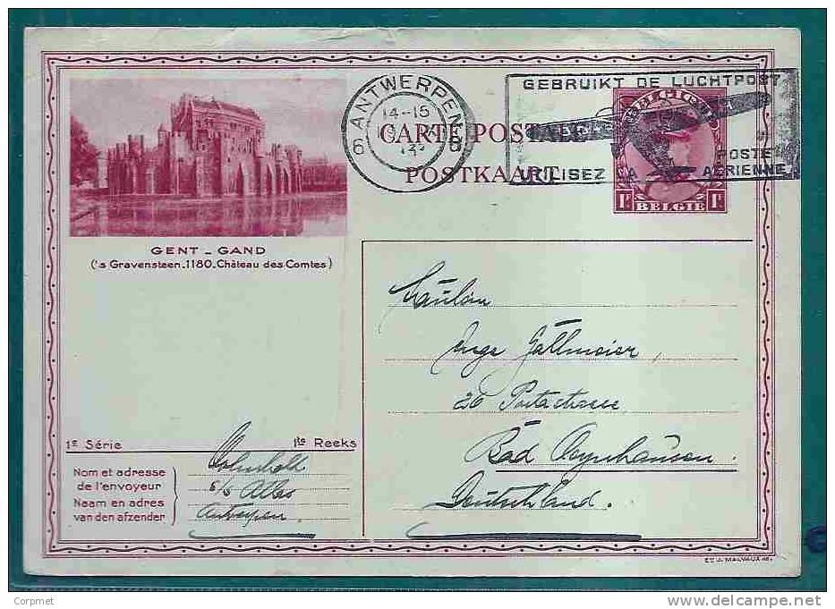 BELGIUM - 1933 ENTIRE - GENT-GAND  (´s Gravensteen .1180.Chateau Des Comtes) VF CARD To GERMANY - GEBRUIKT DE LUCHTPOST - Stamped Stationery