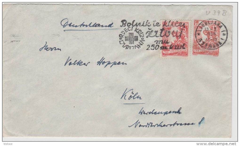 Yu026/  JUGOSLAWIEN - U 39 B, Zusatzmarke (gleiche Nominale) Rotes -Kreuz-Werbung (Red Cross, Cruz Roja) - Storia Postale