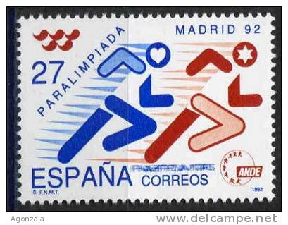 TIMBRE ESPAGNE NOUVEAU 1992 JEUX  MADRID PARALYMPIQUE - ATHLETISME - Sellos