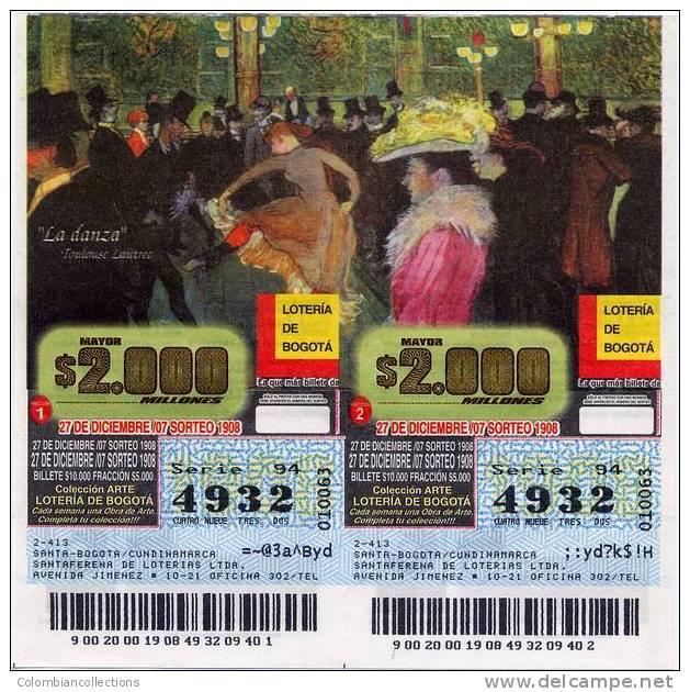 Lote 701, Colombia, Loterias Con Temas De Arte, Lottery Art Themes,  Tolouse Lautrec, La Danza - Billetes De Lotería
