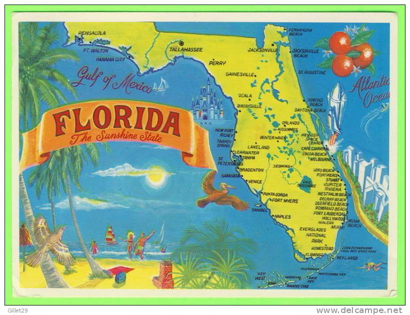 MAP - FLORIDA - THE SUNSHINE STATE - TRAVEL IN 1993 - - Cartes Géographiques