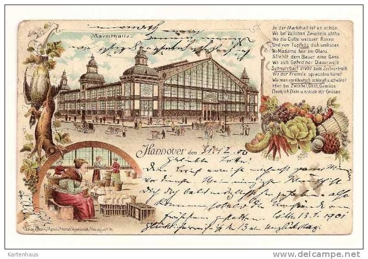 Litho * Hannover Markthalle * Hase Rebhuhn Und Gemüse * Marktfrau M. Gänsen * 1900 - Hannover
