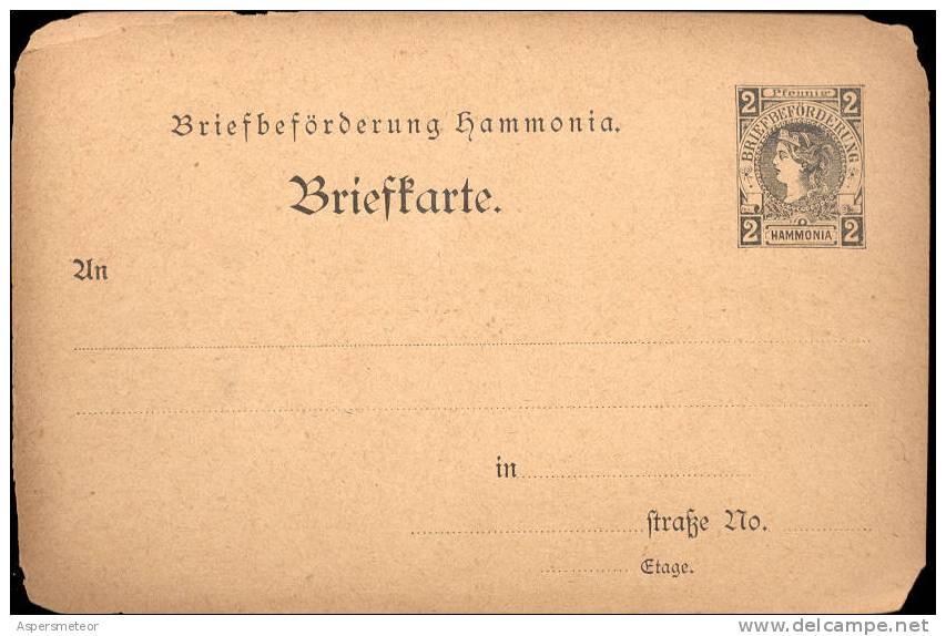 Hammonia Briefbeforderung Used In Chemnitz POSTAL STATIONERY ENTIER POSTAUX RARISIME Local Issue Of 1884 - Sello Particular