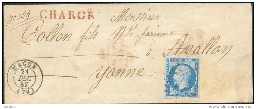 20 Centimes Bleu, TB Margé Obl. PC S/L. CHARGE  De MACON Le  21 Déc. 1857 Vers Avallon (Yonne) - 3415 - 1853-1860 Napoléon III.