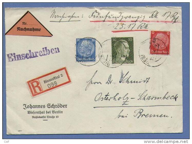 449+452+718 Op Aangetekende NACHNAHME (Remboursement) Verzonden Van BIESENTHAL 2 - Briefe U. Dokumente