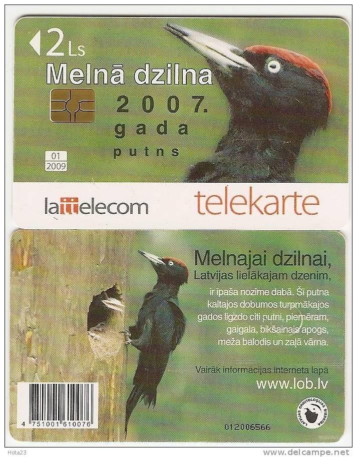Bird 2007 Black Woodpecker Latvia Chip Phonecard - Latvia