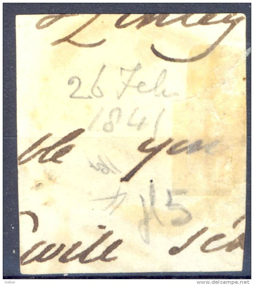 ²²999: SG: N°1 Plate 5 : S__K  ( 3 Margins ) With Tombstone: C PAID 26.FE.26 1841 .  / Fragment - 1840-1901 (Victoria)