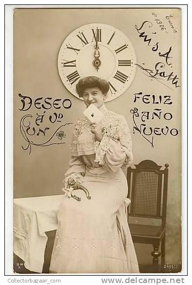 VINTAGE ORIGINAL Ca1900 POSTCARD POSTAL HAPPY NEW YEAR-WOMAN-CLOCK-FELÍZ AÑO NUEVO-MUJER-RELOJ - Año Nuevo