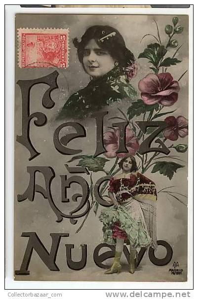 VINTAGE ORIGINAL Ca1900 POSTCARD POSTAL HAPPY NEW YEAR-WOMAN-FLOWERS-DRESS-FELÍZ AÑO NUEVO-MUJER-FLORES-VESTIDO - Año Nuevo
