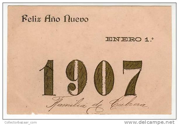 VINTAGE ORIGINAL Ca1900 POSTCARD POSTAL HAPPY NEW YEAR 1907 JANUARY 1º- FELÍZ AÑO NUEVO ENERO 1º - Año Nuevo