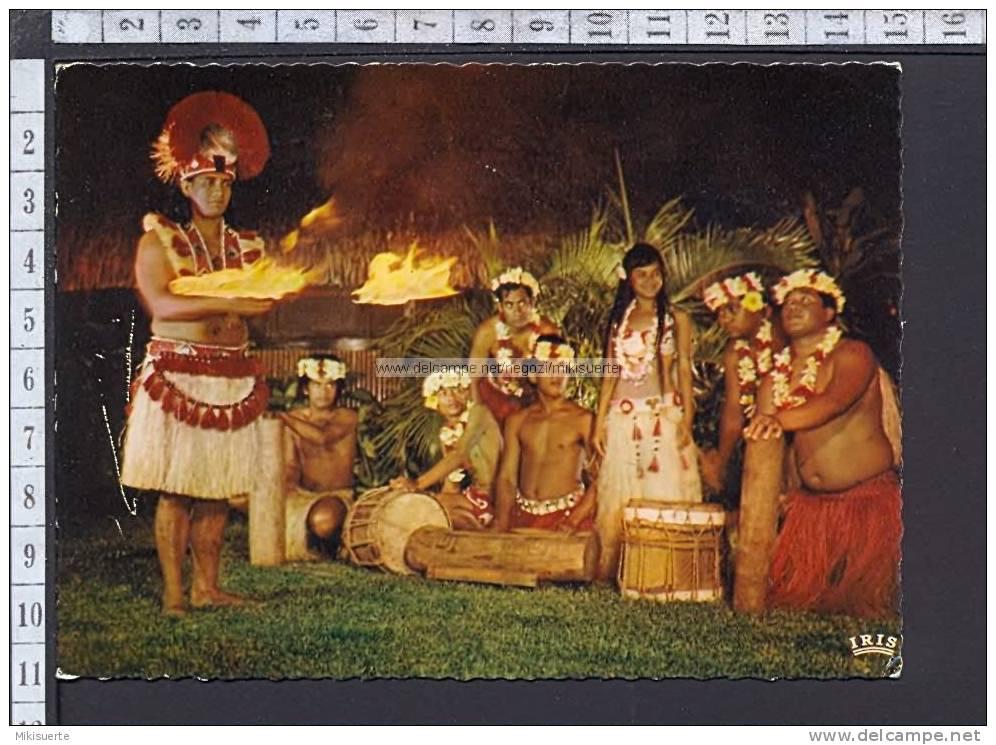 M6098 TAHITI DANSE RITUELLE DU FEU - DANCING FIRE RITUAL Viaggiata SB F/G Cartolina-Postcard - Tahiti