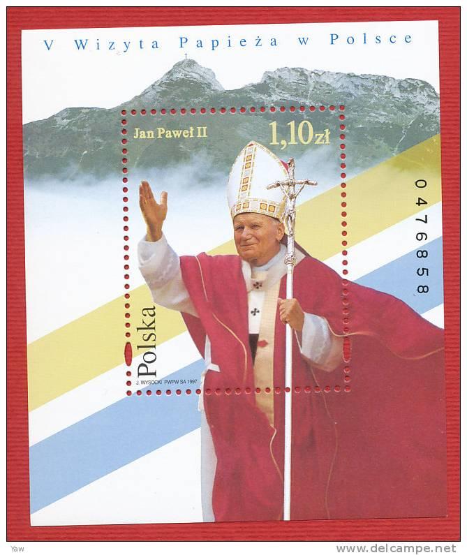POLONIA  1997  V VISITA DI S.S. PAPA GIOVANNI PAOLO II IN POLONIA. BF NUMERATO,  YT 140 MNH** - Blocks & Sheetlets & Panes