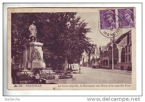 GRANVILLE .- Le Cours Joinville . Le Monument Aux Morts Et La Nouvelle Poste .50/33 - Granville
