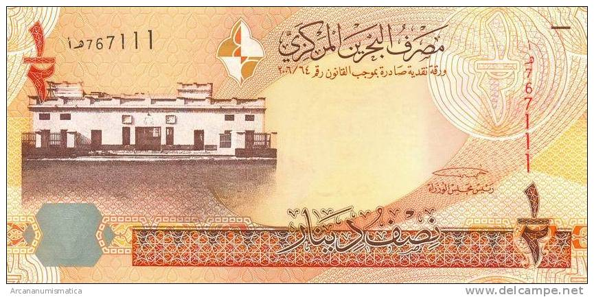BAHRAIN  1/2  DINAR  2006  (2008)  PLANCHA/SC/UNC    DL-6036 - Bahrein