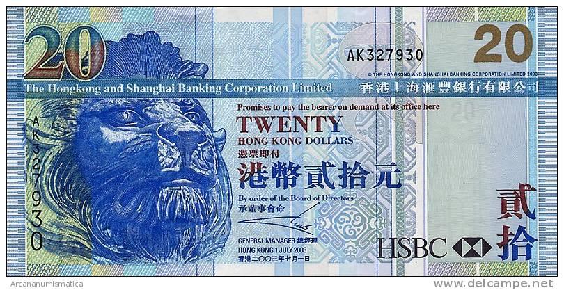 HONG  KONG    20  DOLARES  1-7-2003  SC/UNC/PLANCHA     DL-6060 - Hong Kong