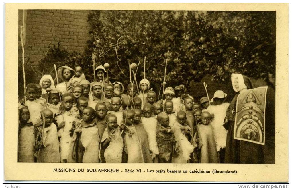 CPA...DE LESOTHO...ANIMEE...MISSIONS SUD AFRIQUE...LES PETITS BERGERS AU CATHECHISME... - Lesotho