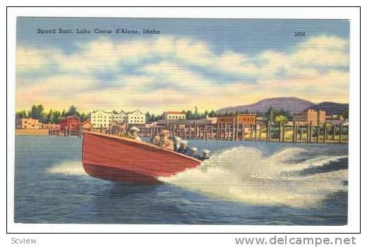 Speed Boat, Lake Coeur D'Alene, Idaho, 30-40s - Coeur D'Alene