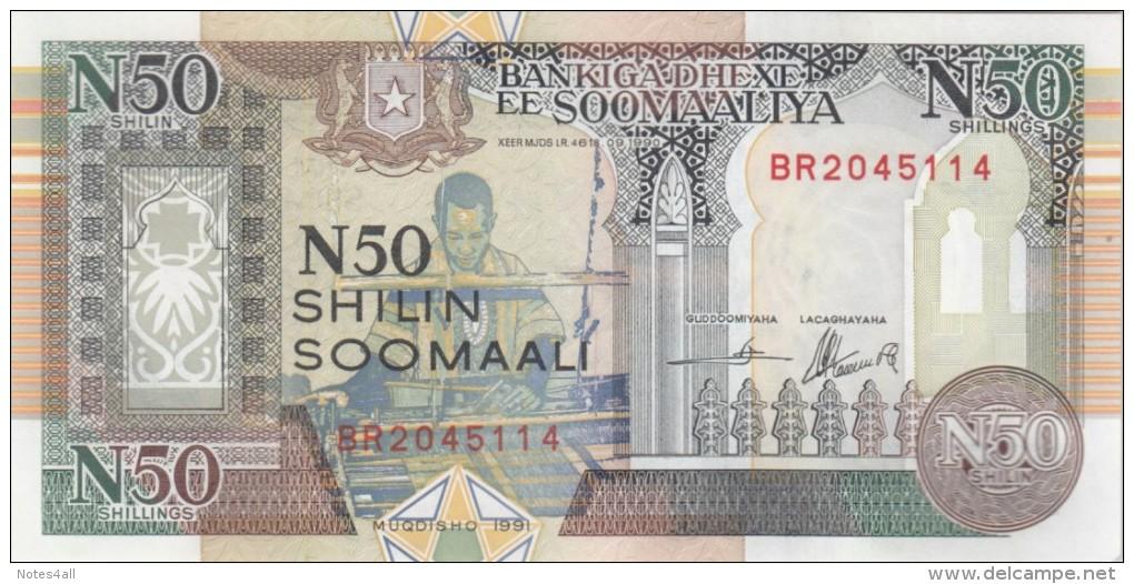 SOMALIA 50 N SHILLINGS 1991 P-R2 MAQADISHO FORCES ISSUE UNC */* - Somalië