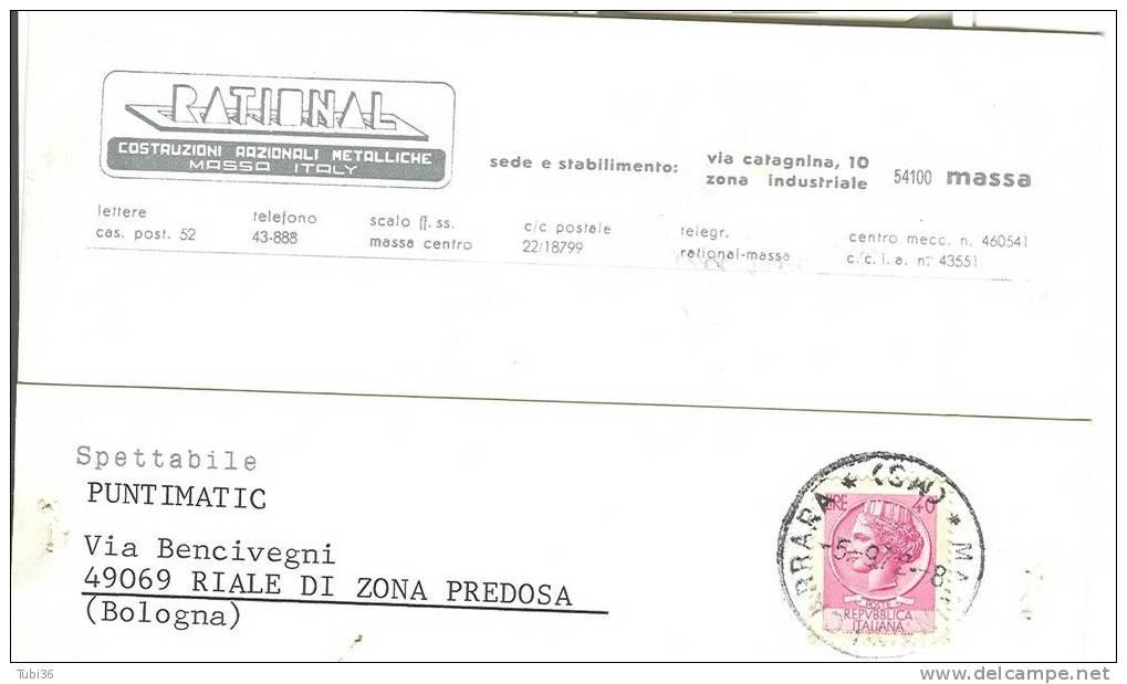 RATIONAL - COSTRUZIONI RAZIONALI METALLICHE - MASSA CARRARA - VIAGGIATA  1972. - Massa