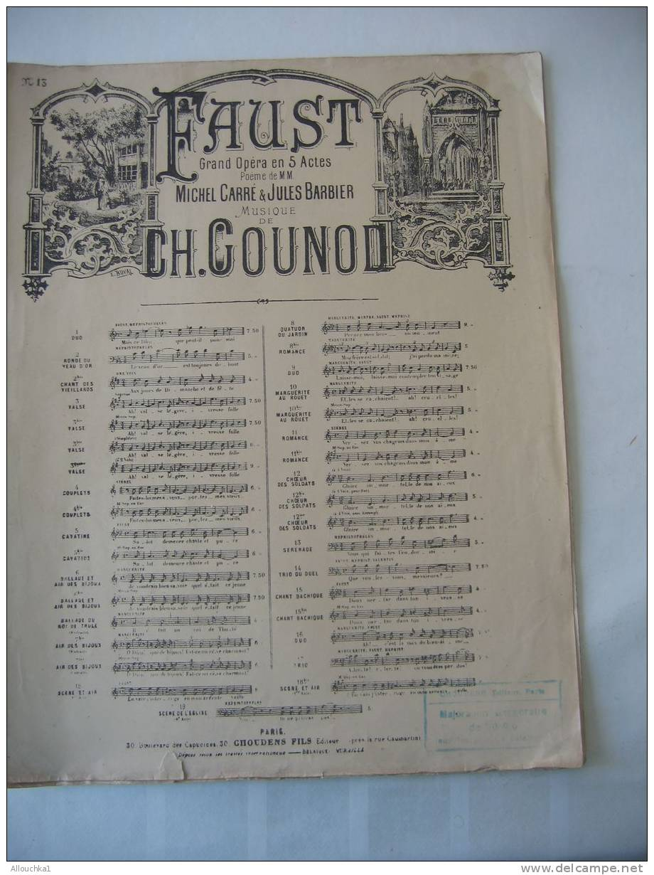 """MUSIQUE- PARTITION:"""" FAUST """" CH. GOUNOD -OPERA MICHEL CARRE - JULES BARBIER /5 PAGES ED-CHOUDENS - Opern"""