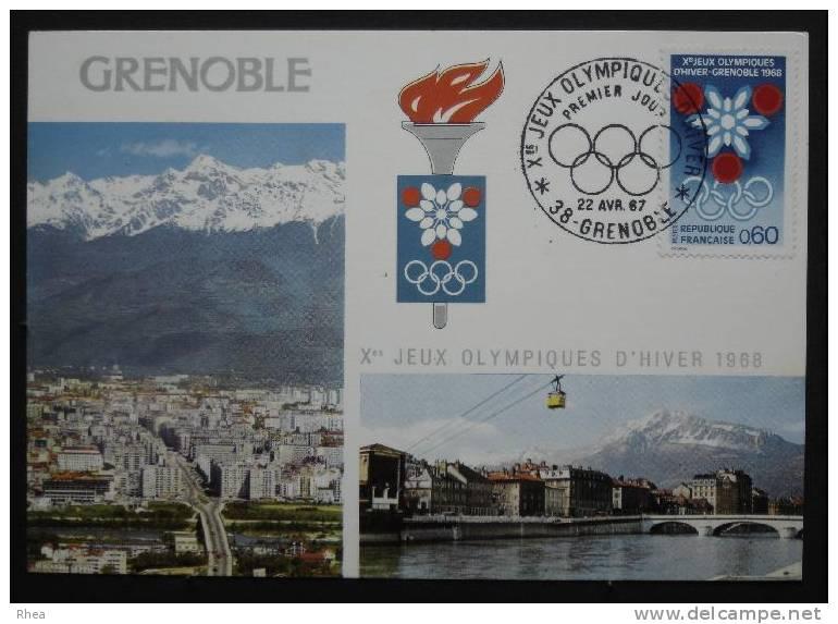 38 Grenoble Sport Olympiques, Jeux Olympiques Premier Jour Flamme Olympique    D38D  K38185K  C38185C RH023673 - Grenoble