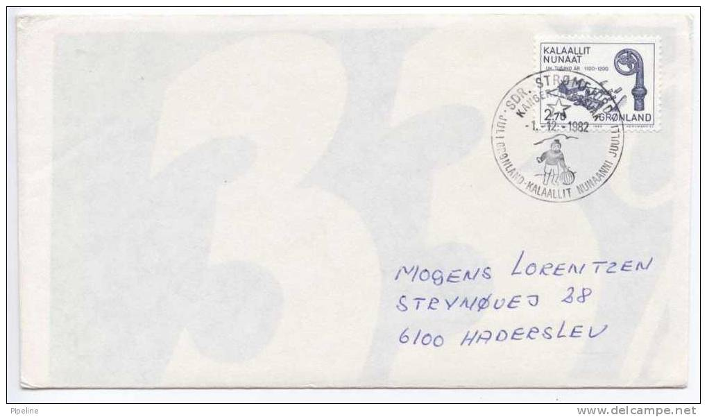 Greenland Cover With Special Christmas Cancel 1-12-1982 Sent To Denmark - Groenland