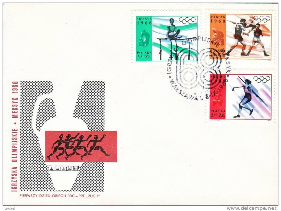 POLAND 1968.09.02 - Mi 1855-63 - Eleventh Olympic Games - Mexico 1968 - 4 FDC - Zomer 1968: Mexico-City