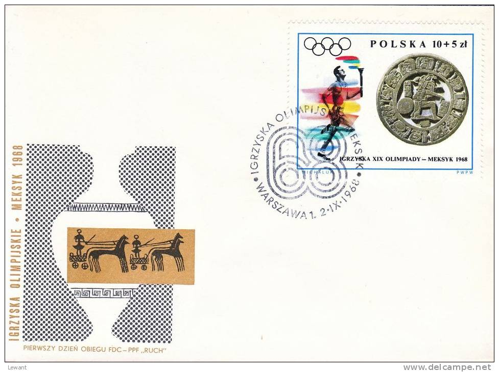 POLAND 1968.09.02 - Mi 1855-63 - Eleventh Olympic Games - Mexico 1968 - 4 FDC - Ete 1968: Mexico
