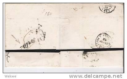 Rl082//  - RUSSLAND - Odessa 1862. Taxstempel 22 Centimes, Doppelporto N. Paris - Briefe U. Dokumente