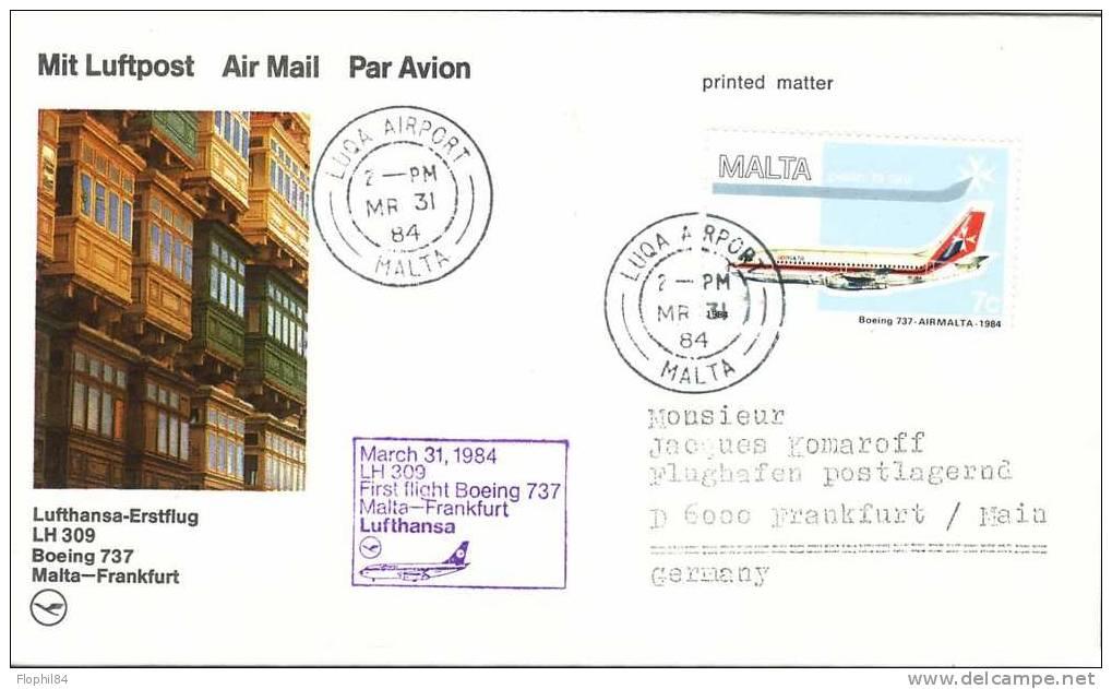 MALTE-FRANKFURT 31-3-1984 PAR BOING737 - Malte (Ordre De)