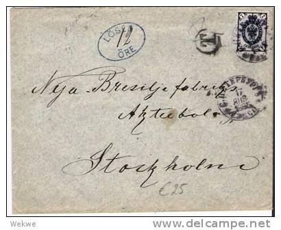 S154/ St. Petersburg-Stockholm. Lösen Stempel 12 Öre 1895 - Schweden