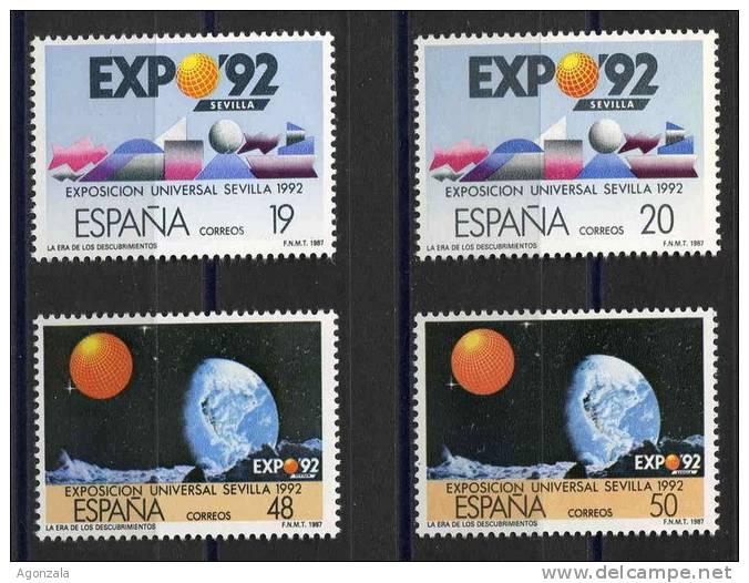 SERIE TIMBRES ESPAGNE NOUVEAUX 1987 EXPOSITION UNIVERSEL SÉVILLE 92  - LA ÉTAIT DES DÉCOUVERTES - Astronomùia
