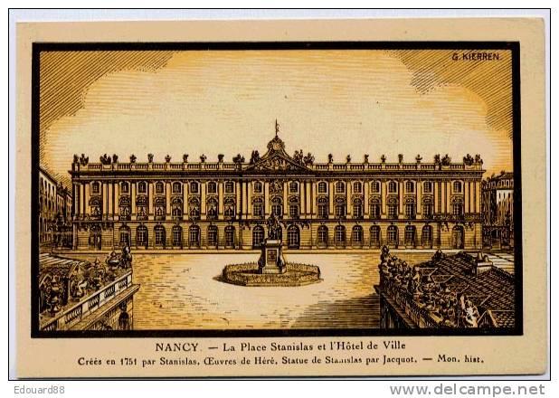 NANCY LA PLACE STANISLAS ET L´HOTEL DE VILLE    DESSIN G. KIERREN - Nancy