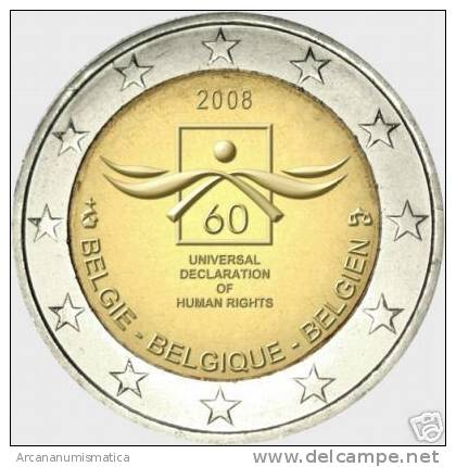 "BELGICA  2€ 2.008 SC/UNC  ""Human Declaration Of Human Rights""      DL-6304 - Bélgica"