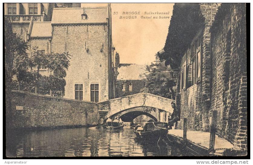 BRUGGE SUIKERKANAAL - BRUGES CANAL AU SUCRE BARCHE BOOTE SCHIFFE VESSEL CPA ANIMEE RARE TBE - Brugge