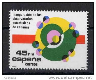 TIMBRE ESPAGNE NOUVEAU 1985 INAUGURATION DES OBSERVATOIRES ASTROFÍSICOS DES ILES CANARIES - TÉLESCOPES ASTRONOMIE - Astronomùia