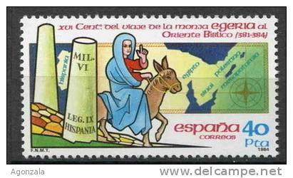 TIMBRE ESPAGNE NOUVEAU 1984  VOYAGE EN ÂNE DE LA RELIGIEUSE EGERIA À L´EST DE LA BIBLE - Sellos