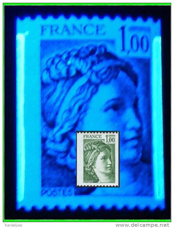 Sabine Roul 1.00 Vert - Bande De Phosphore A CHEVAL - 1/3 Gauche - 2/3 Droite - N° 1981A - Errors & Oddities