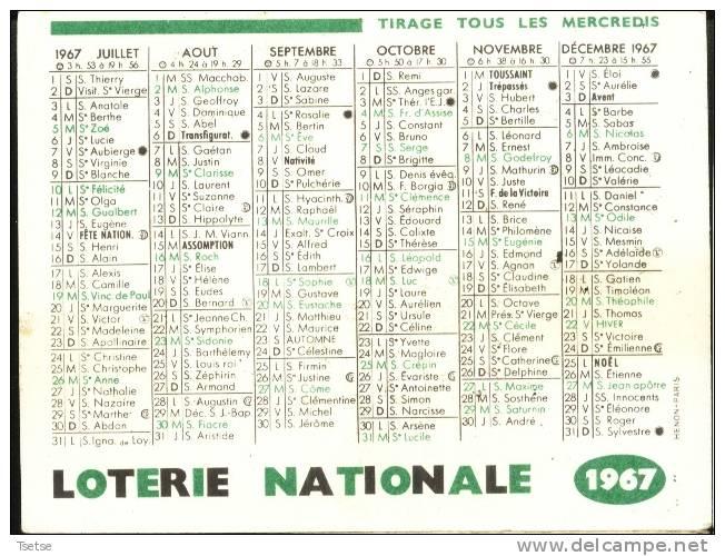 Calendrie De Poche - Pub: LOTERIE NATIONALE -1967 ( Vois Scan Des 2 Côtés ) - Petit Format : 1961-70