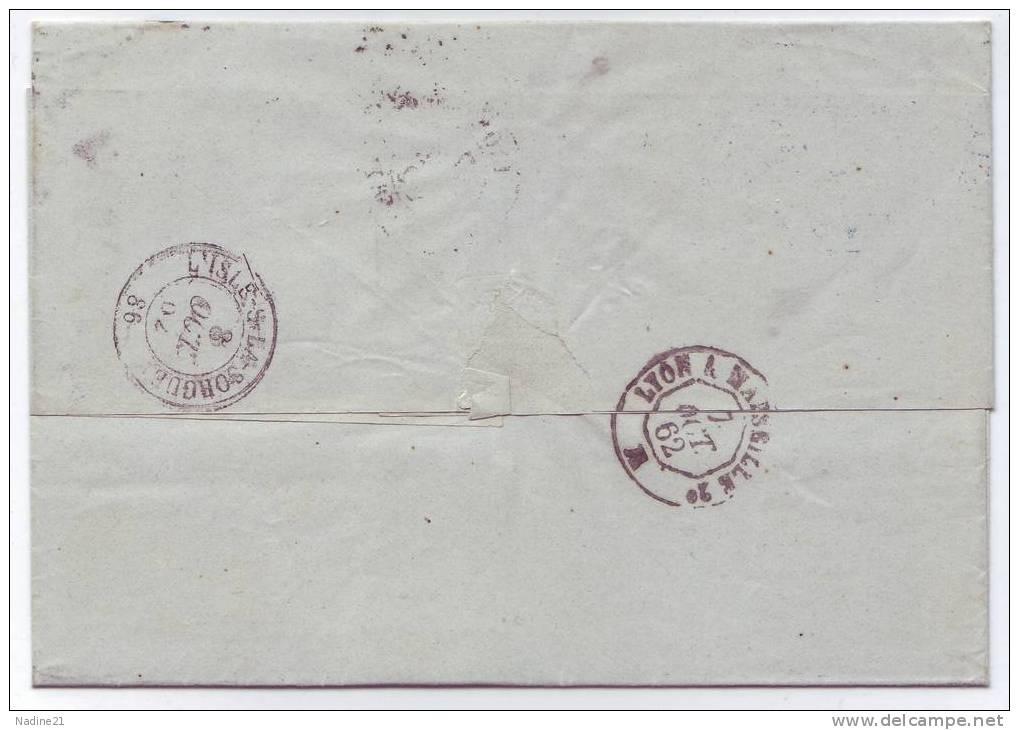 014. LAC N°14 De Lyon à L'Isle Sur La Sorgue (Vaucluse) - 1862 - Marcophilie (Lettres)