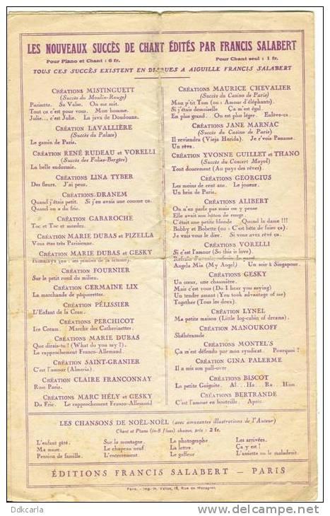 """Oud Muziekblaadje - 1929 - Ma Louise - """"La Chanson De Paris"""" - Maurice Chevalier - Musique & Instruments"""