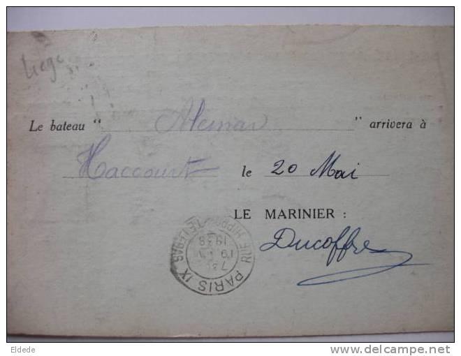 """Haccourt 1938 Batellerie Peniche """"Aleman"""" Timbrée Givet Ardennes Daguin  Timb. Gambetta - France"""