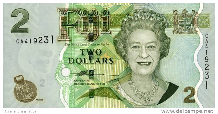 FIJI   2   DOLARES  $    2.007     PLANCHA/UNC/SC     DL-6316     D - Fidji