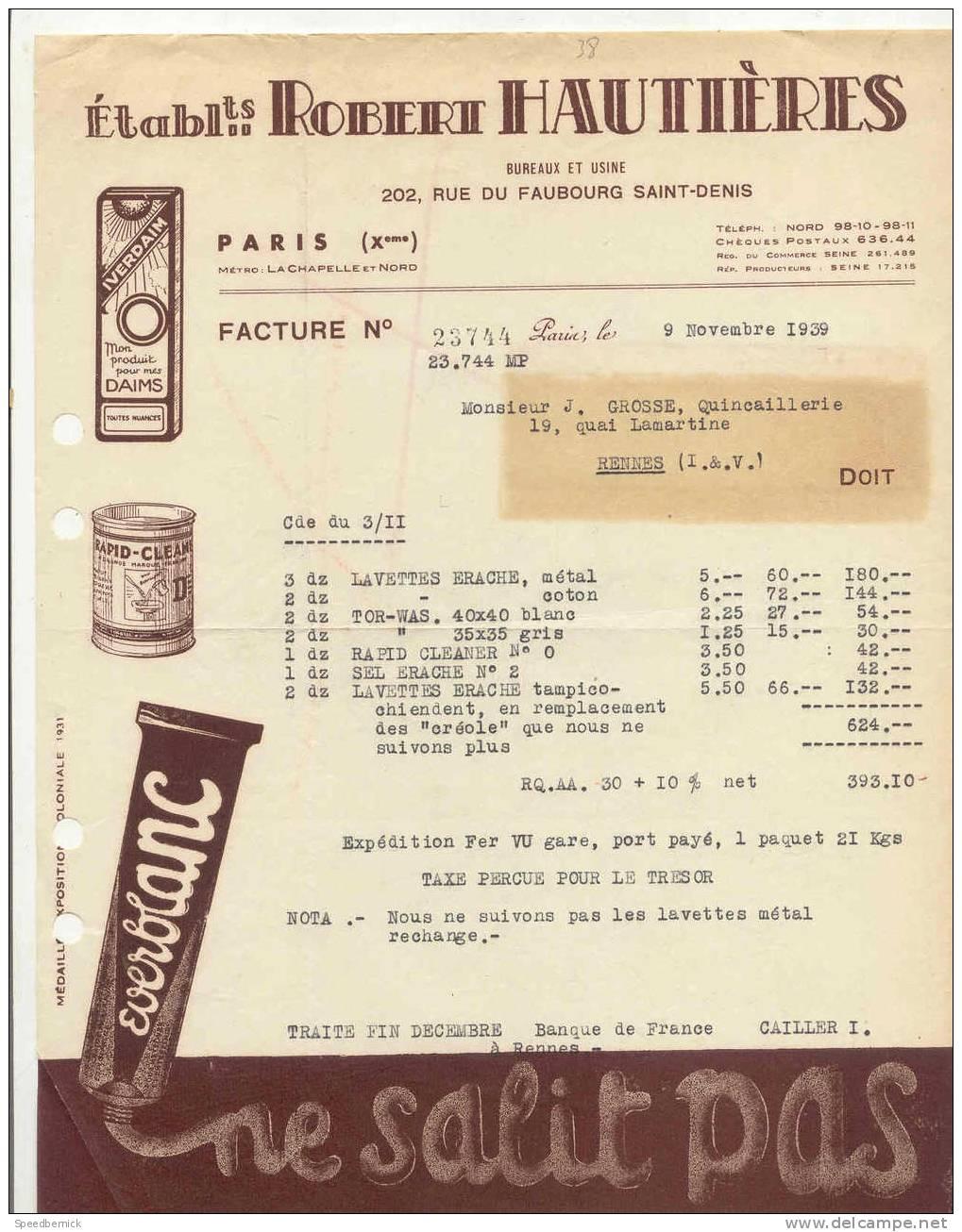 FF38 - Robert Hautieres Cirage, 202 Rue Faubourg Saint-denis , 1939 . - France